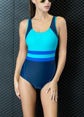 Sexy Women One-piece Swimsuit Contrast Color Padded Monokini Swimwear Bathing Suit Blue/Green/Yellow