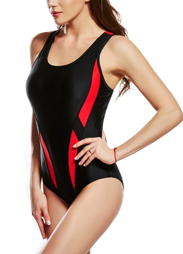 Sexy Women One-Piece Swimwear Color Splice Cut Out Sleeveless Padding Wireless Bathing Suit Swimsuits Beach Wear
