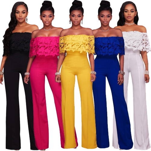 Women Sexy Jumpsuit Lace Off the Shoulder Bodysuit Slash Neck Wide Leg Trousers OverallsApparel &amp; Jewelry<br>Women Sexy Jumpsuit Lace Off the Shoulder Bodysuit Slash Neck Wide Leg Trousers Overalls<br>