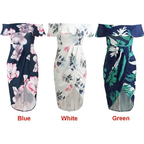 a25cfb7cd6 Sexy Women Boho Off Shoulder Dress Ruffles Floral Print Asymmetric Ruched  Split Summer Beach Holiday Dress