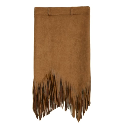 Flapper Fashion Women Faux Suede Tassel Fringe High Waist Asymmetric Slim SkirtApparel &amp; Jewelry<br>Flapper Fashion Women Faux Suede Tassel Fringe High Waist Asymmetric Slim Skirt<br>
