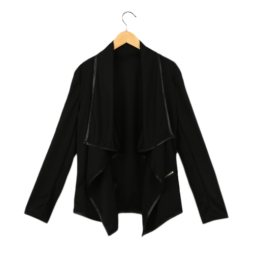 New Fashion Women Coat Solid Irregular Turn Down Collar Long Sleeve Zipper Decoration Cardigan Coat Jacket Loose Outerwear Black