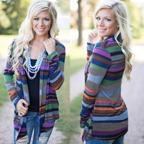 New Women Cardigan Contrast Stripe Shawl Collar Long Sleeve Sweater Outerwear Jacket Coat Blazer BlueApparel &amp; Jewelry<br>New Women Cardigan Contrast Stripe Shawl Collar Long Sleeve Sweater Outerwear Jacket Coat Blazer Blue<br>