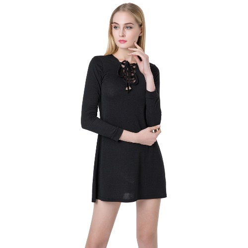 Sexy Women Mini Dress V Neck Long Sleeve Lace Up Slim Casual Dress Green/BlackApparel &amp; Jewelry<br>Sexy Women Mini Dress V Neck Long Sleeve Lace Up Slim Casual Dress Green/Black<br>