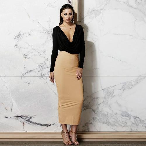 Sexy Deep V Neck Ruffle Long Sleeve Crop Top High Waist Skirt Set Womens DressApparel &amp; Jewelry<br>Sexy Deep V Neck Ruffle Long Sleeve Crop Top High Waist Skirt Set Womens Dress<br>