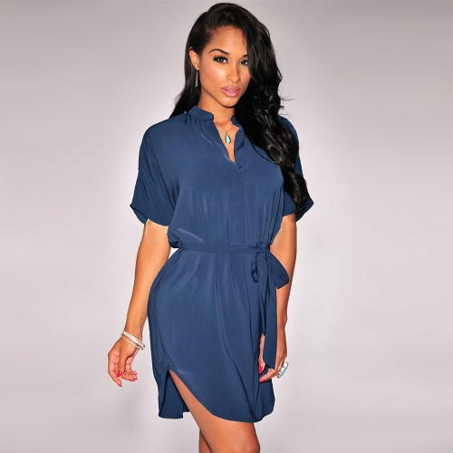 Stylish V Neckline Short Sleeve Curved Hem Belt Solid Casual Shirt Dress for WomenApparel &amp; Jewelry<br>Stylish V Neckline Short Sleeve Curved Hem Belt Solid Casual Shirt Dress for Women<br>