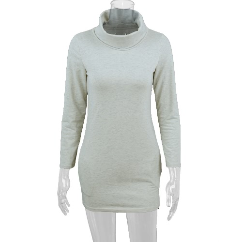 Fashion Turtleneck Pocket Design Long Sleeve Solid Mini Sweater Dress for WomenApparel &amp; Jewelry<br>Fashion Turtleneck Pocket Design Long Sleeve Solid Mini Sweater Dress for Women<br>