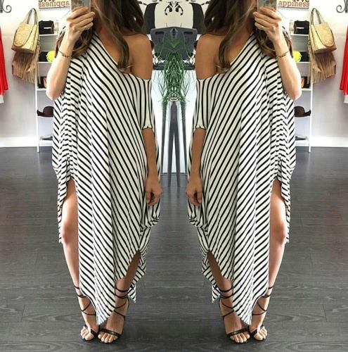New Women Loose Long Dress Striped Batwing Sleeve Off-shoulder Split Asymmetric Casual Maxi Plus Size Dress WhiteApparel &amp; Jewelry<br>New Women Loose Long Dress Striped Batwing Sleeve Off-shoulder Split Asymmetric Casual Maxi Plus Size Dress White<br>