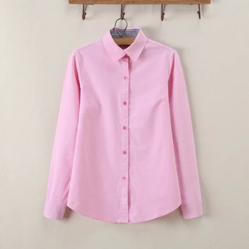 New Fashion Women Shirt Striped Turn-Down Collar Button Placket Solid Color Long Sleeve Blouse TopsApparel &amp; Jewelry<br>New Fashion Women Shirt Striped Turn-Down Collar Button Placket Solid Color Long Sleeve Blouse Tops<br>