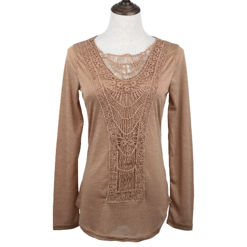 New Fashion Women T-shirt Crochet Lace Panel Round Neck Long Sleeve Slim Fit Solid Casual Blouse Green/White/KhakiApparel &amp; Jewelry<br>New Fashion Women T-shirt Crochet Lace Panel Round Neck Long Sleeve Slim Fit Solid Casual Blouse Green/White/Khaki<br>
