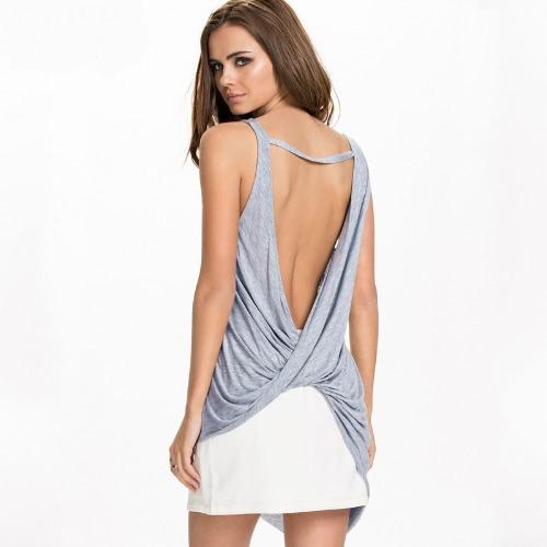 New Sexy Women Tank Top Cross Back O Neck Asymmetric Hem Backless Loose Casual Vest Camisole Top Blue/Grey