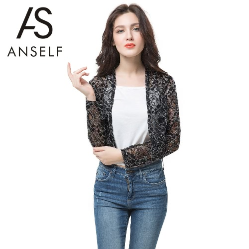 Anself Chic Lace Long Sleeve Sheer Short Black Sunscreen Coat for WomenApparel &amp; Jewelry<br>Anself Chic Lace Long Sleeve Sheer Short Black Sunscreen Coat for Women<br>