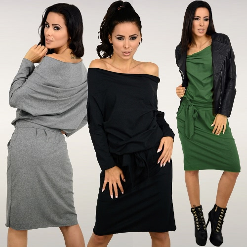 New Sexy Women Dress Slash Neck Off Shoulder Long Sleeve With Belt Loose Casual Bandage Mini DressApparel &amp; Jewelry<br>New Sexy Women Dress Slash Neck Off Shoulder Long Sleeve With Belt Loose Casual Bandage Mini Dress<br>