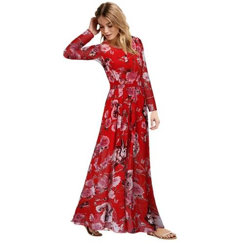ファッション女性ロング ドレス自由奔放なマキシドレス床長さドレス O ネック長袖イエロー/ブルー/レッド