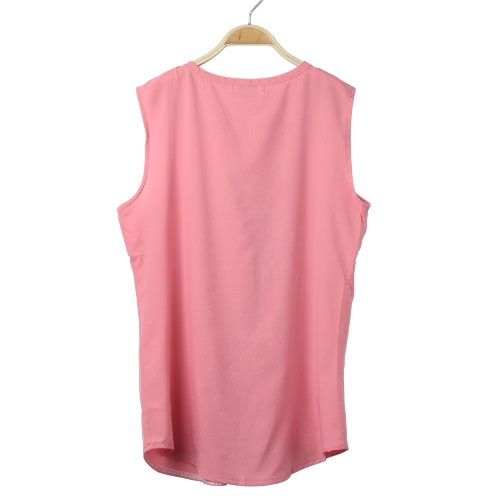 Summer Women Chiffon Blouse V Neck Sleeveless Draped Front Loose Casual Top Black/Watermelon Red/PinkApparel &amp; Jewelry<br>Summer Women Chiffon Blouse V Neck Sleeveless Draped Front Loose Casual Top Black/Watermelon Red/Pink<br>