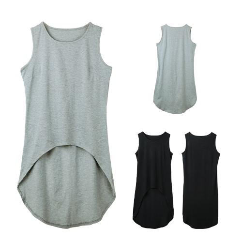 Women Longline Tank Top Vest Sleeveless Asymmetrical Hem O Neck Cropped T-Shirt Casual Top Black/GreyApparel &amp; Jewelry<br>Women Longline Tank Top Vest Sleeveless Asymmetrical Hem O Neck Cropped T-Shirt Casual Top Black/Grey<br>