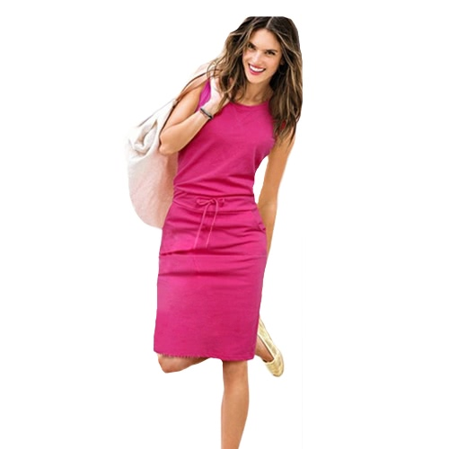 Women Solid Pencil Dress Casual O-Neck Sleeveless Bodycon Sheath Dress Grey/Rose/Dark BlueApparel &amp; Jewelry<br>Women Solid Pencil Dress Casual O-Neck Sleeveless Bodycon Sheath Dress Grey/Rose/Dark Blue<br>