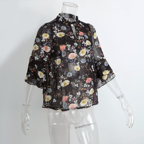 Fashion Women Chiffon Blouse Flower Print Cut Out Front Stand Collar Flare Sleeves Sexy Loose TopApparel &amp; Jewelry<br>Fashion Women Chiffon Blouse Flower Print Cut Out Front Stand Collar Flare Sleeves Sexy Loose Top<br>