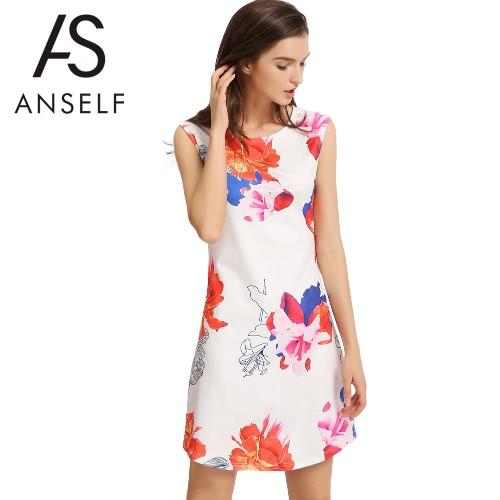 Elegant Floral Print Round Neck Sleeveless Back Zipper Womens A-Line Mini DressApparel &amp; Jewelry<br>Elegant Floral Print Round Neck Sleeveless Back Zipper Womens A-Line Mini Dress<br>