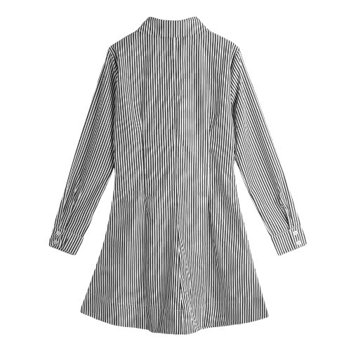 Women Shirt Dress Vertical Striped Turn-Down Collar Long Sleeve Button Casual Blouse Mini Dress Blue/Black/RedApparel &amp; Jewelry<br>Women Shirt Dress Vertical Striped Turn-Down Collar Long Sleeve Button Casual Blouse Mini Dress Blue/Black/Red<br>