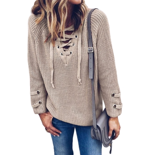 New Women V Neck Knitted Sweater Striped Bandage Cross Ties Pullover Loose Casual Long Knitwear Jumper TopApparel &amp; Jewelry<br>New Women V Neck Knitted Sweater Striped Bandage Cross Ties Pullover Loose Casual Long Knitwear Jumper Top<br>