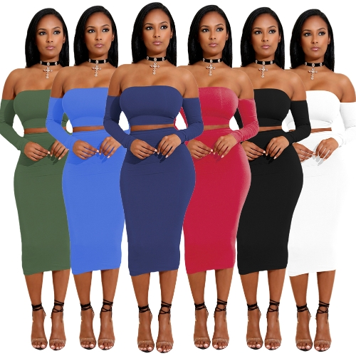 Sexy Women Two Pieces Set Off Shoulder Lace Up Back Long Sleeve Backless Crop Top Bodycon Pencil Skirt SetApparel &amp; Jewelry<br>Sexy Women Two Pieces Set Off Shoulder Lace Up Back Long Sleeve Backless Crop Top Bodycon Pencil Skirt Set<br>