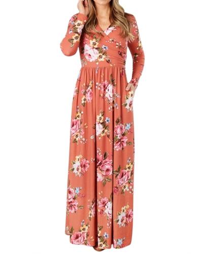 Fashion Women Floral Print Long Sleeve Maxi Dress V Neck Vintage Flower High Waist Party DressApparel &amp; Jewelry<br>Fashion Women Floral Print Long Sleeve Maxi Dress V Neck Vintage Flower High Waist Party Dress<br>