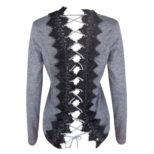 Women Knit Sweater Lace Up Backless O-Neck Long Sleeve Lace Patch Pullover Casual Tops Black/GreyApparel &amp; Jewelry<br>Women Knit Sweater Lace Up Backless O-Neck Long Sleeve Lace Patch Pullover Casual Tops Black/Grey<br>