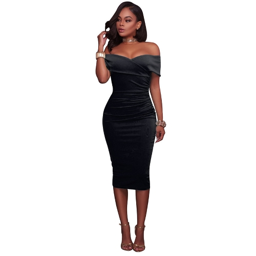 Women Sexy Off Shoulder Strapless Midi Dress Ruched Elegant Bodycon Party Clubwear Pencil DressApparel &amp; Jewelry<br>Women Sexy Off Shoulder Strapless Midi Dress Ruched Elegant Bodycon Party Clubwear Pencil Dress<br>