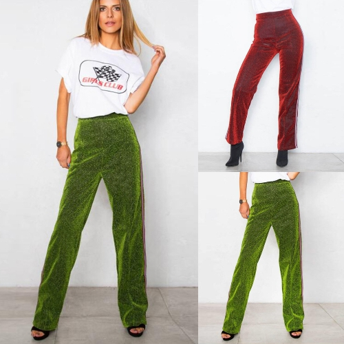 Women Metallic Pants Straight Leg Pants Side Stripe Elastic Waist Casual Trousers Red/GreenApparel &amp; Jewelry<br>Women Metallic Pants Straight Leg Pants Side Stripe Elastic Waist Casual Trousers Red/Green<br>