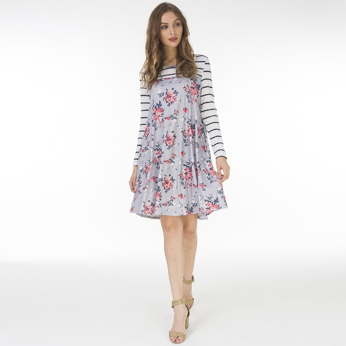 Women Autumn Floral Stripe Print Dress Long Sleeve Pockets Casual Loose T-Shirt Dress Midi Swing DressApparel &amp; Jewelry<br>Women Autumn Floral Stripe Print Dress Long Sleeve Pockets Casual Loose T-Shirt Dress Midi Swing Dress<br>