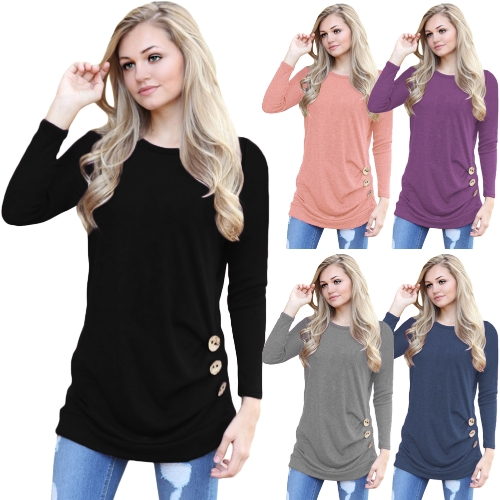 Women Long Sleeves Side Buttoned T-shirt O Neck Ruched Side Long Tees Casual TopsApparel &amp; Jewelry<br>Women Long Sleeves Side Buttoned T-shirt O Neck Ruched Side Long Tees Casual Tops<br>