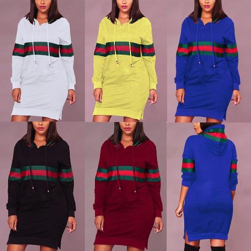 Women Striped Print Drawstring Hooded SweatshirtApparel &amp; Jewelry<br>Women Striped Print Drawstring Hooded Sweatshirt<br>