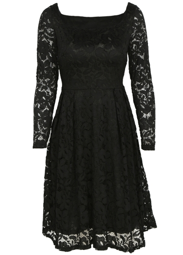 Women Floral Lace Dress Long Sleeves Slash Neck A-Line Side Zipper Plus Size Evening Wedding Party DressApparel &amp; Jewelry<br>Women Floral Lace Dress Long Sleeves Slash Neck A-Line Side Zipper Plus Size Evening Wedding Party Dress<br>
