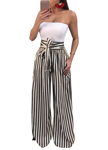 Women Pants Contrast Stripes Print High Waist Straight Wide Legs Bow Tie Casual Trousers Party WearApparel &amp; Jewelry<br>Women Pants Contrast Stripes Print High Waist Straight Wide Legs Bow Tie Casual Trousers Party Wear<br>