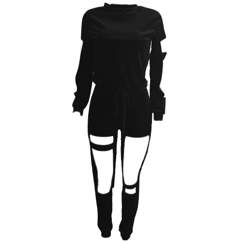 Sexy Women Velvet Cut Out Sports Top Set Long Sleeves Drawstring Sweatshirts Pants Fitness Casual Two PiecesApparel &amp; Jewelry<br>Sexy Women Velvet Cut Out Sports Top Set Long Sleeves Drawstring Sweatshirts Pants Fitness Casual Two Pieces<br>