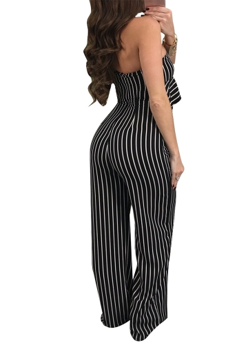 Sexy Women Striped Ruffle Wide-Leg Jumpsuit Single Shoulder High Waist Party Club Slim Rompers PlaysuitApparel &amp; Jewelry<br>Sexy Women Striped Ruffle Wide-Leg Jumpsuit Single Shoulder High Waist Party Club Slim Rompers Playsuit<br>