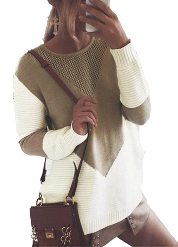 omen Knitted Sweater Contrast Color Round Neck Long Sleeve Hollow Out Autumn Winter Casual Loose PulloverApparel &amp; Jewelry<br>omen Knitted Sweater Contrast Color Round Neck Long Sleeve Hollow Out Autumn Winter Casual Loose Pullover<br>