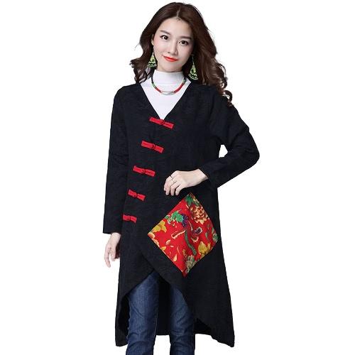 Women Ethnic Coat Cotton Linen V Neck Asymmetric Long Sleeve Cheongsam Mandarin Vintage Loose OutwearApparel &amp; Jewelry<br>Women Ethnic Coat Cotton Linen V Neck Asymmetric Long Sleeve Cheongsam Mandarin Vintage Loose Outwear<br>