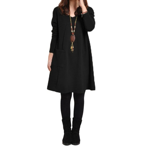 Autumn Winter Women Dress Plus Size Long Sleeves Pockets Solid V Neck Loose DressApparel &amp; Jewelry<br>Autumn Winter Women Dress Plus Size Long Sleeves Pockets Solid V Neck Loose Dress<br>
