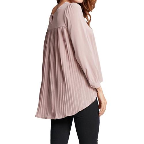 New Women Chiffon Blouse Pleated O-Neck Long Sleeve Asymmetric Loose Casual Solid Plus Size Shirt TopApparel &amp; Jewelry<br>New Women Chiffon Blouse Pleated O-Neck Long Sleeve Asymmetric Loose Casual Solid Plus Size Shirt Top<br>
