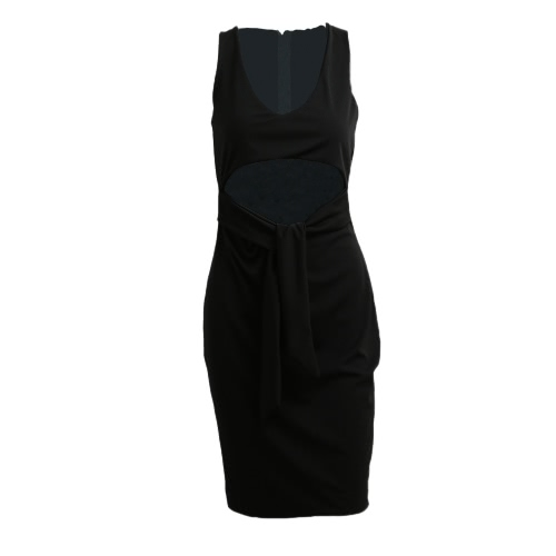 Women Sexy Dress Plunge V-neck Sleeveless Waist Hollow Out Nightclub Bodycon Midi Dress Burgundy/Grey/BlackApparel &amp; Jewelry<br>Women Sexy Dress Plunge V-neck Sleeveless Waist Hollow Out Nightclub Bodycon Midi Dress Burgundy/Grey/Black<br>