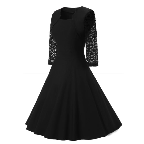 Women Vintage Dress Lace Three Quarter Sleeve O-Neck A-Line Back Zipper Elegant Retro Party DressApparel &amp; Jewelry<br>Women Vintage Dress Lace Three Quarter Sleeve O-Neck A-Line Back Zipper Elegant Retro Party Dress<br>