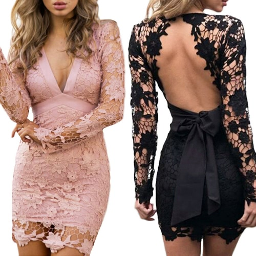 Sexy Women Mini Bodycon Dress Lace Hollow Out Bow V-Neck Long Sleeves Elegant Dress Pink/BlackApparel &amp; Jewelry<br>Sexy Women Mini Bodycon Dress Lace Hollow Out Bow V-Neck Long Sleeves Elegant Dress Pink/Black<br>
