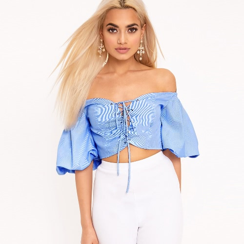 Women Striped Off Shoulder Cropped Top Lace Up Front Slash NeckApparel &amp; Jewelry<br>Women Striped Off Shoulder Cropped Top Lace Up Front Slash Neck<br>