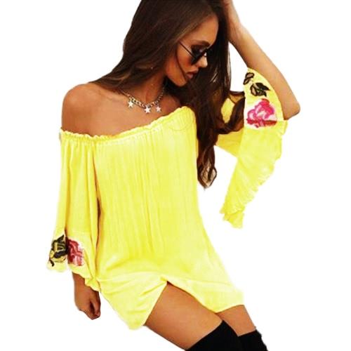 Summer Women Loose T-Shirt Slash Neck Off ShoulderApparel &amp; Jewelry<br>Summer Women Loose T-Shirt Slash Neck Off Shoulder<br>