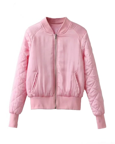 Fashion Women Satin Bomber Jacket Quilted Long Sleeve Cotton Short JacketApparel &amp; Jewelry<br>Fashion Women Satin Bomber Jacket Quilted Long Sleeve Cotton Short Jacket<br>