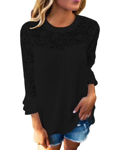 Women Chiffon Blouse Shirt Sheer Lace Cut Out O-Neck Ruffle Flare Sleeve Solid Casual Loose TopApparel &amp; Jewelry<br>Women Chiffon Blouse Shirt Sheer Lace Cut Out O-Neck Ruffle Flare Sleeve Solid Casual Loose Top<br>