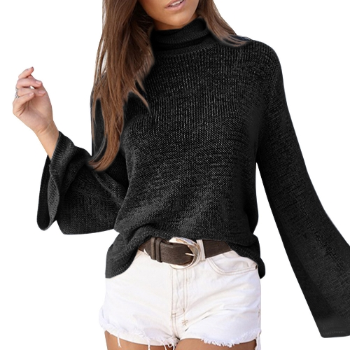 Women Long Horn Sleeve Turtleneck SweaterApparel &amp; Jewelry<br>Women Long Horn Sleeve Turtleneck Sweater<br>
