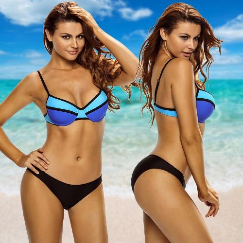New Sexy Women Swimwear Bikini Set Color Block Push-Up Low Waist Beachwear Swimsuit Set BlueApparel &amp; Jewelry<br>New Sexy Women Swimwear Bikini Set Color Block Push-Up Low Waist Beachwear Swimsuit Set Blue<br>
